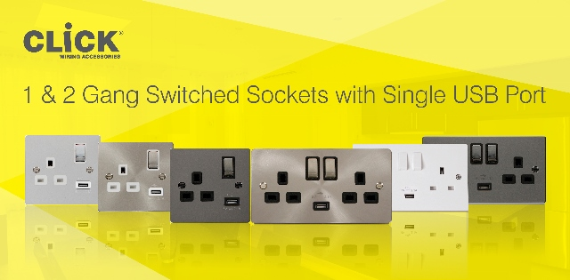 1 & 2 Gang Switched Sockets with single USB port