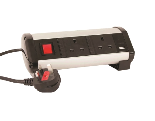 Powerdek Desk Mount Switched, Individually Fused Complete With USB Charger Outlets