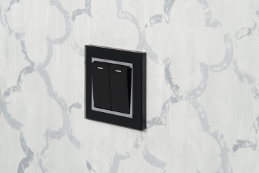 Crystal Glass 2 Gang Rocker Light Switch Black