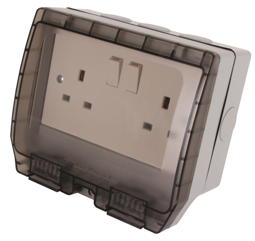 2 Gang Weatherproof Switched Socket 13A