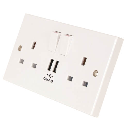 M2 2 Gang Switched Socket Outlet - SP, 2 X USB Ports