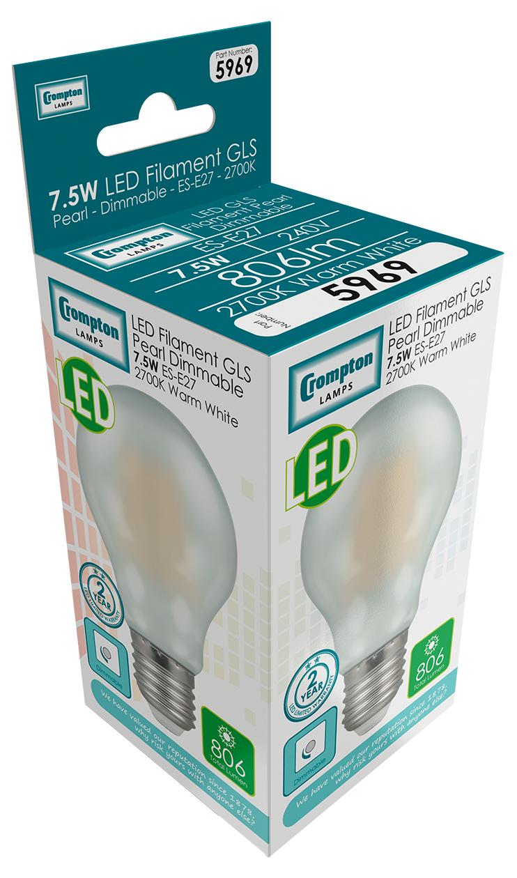 Crompton 5969 LED GLS E27 7.5W 2700K