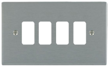 Hamilton Sheer Satin Stainless 4 Gang Aperture Grid Fix Plate