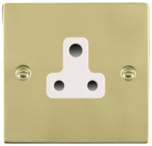 Hamilton Sheer Polished Brass 1 Gang 5A Unswitched Socket with White Plastic Inserts and White Surrounds
