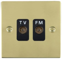 Hamilton Sheer Polished Brass Isolated TV/FM Diplexer 1 In/2 Out with Black Inserts