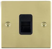Hamilton Sheer Polished Brass 1 Gang Telephone Master Socket with Black Plastic Inserts