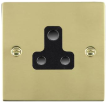 Hamilton Sheer Polished Brass 1 Gang 5A Unswitched Socket with Black Plastic Inserts and Black Surrounds