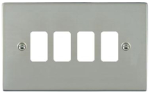 Hamilton Sheer Bright Stainless 4 Gang Aperture Grid Fix Plate