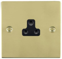 Hamilton Sheer Polished Brass 1 Gang 2A Unswitched Socket with Black Plastic Inserts and Black Surrounds