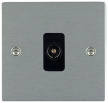 Hamilton Sheer Satin Stainless 1 Gang Non Isolated TV 1 In/1 Out Socket with Black Inserts