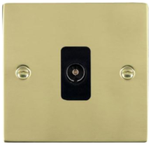 Hamilton Sheer Polished Brass 1 Gang Isolated TV 1 In/1 Out Socket with Black Inserts