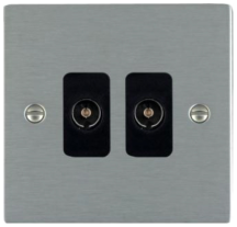 Hamilton Sheer Satin Stainless 2 Gang Non Isolated TV 2 In/2 Out Socket with Black Inserts