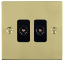 Hamilton Sheer Polished Brass 2 Gang Non Isolated TV 2 In/2 Out Socket with Black Inserts