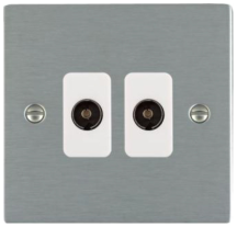 Hamilton Sheer Satin Stainless 2 Gang Non Isolated TV 2 In/2 Out Socket with White Inserts