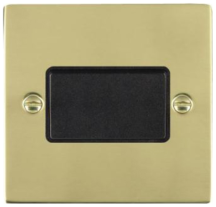 Hamilton Sheer Polished Brass 1 Gang 10A Triple Pole Rocker Switch with Black Inserts + Black Surround