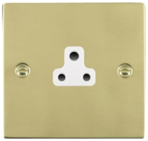 Hamilton Sheer Polished Brass 1 Gang 2A Unswitched Socket with White Plastic Inserts and White Surrounds