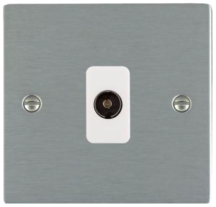 Hamilton Sheer Satin Stainless 1 Gang Non Isolated TV 1 In/1 Out Socket with White Inserts