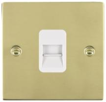 Hamilton Sheer Polished Brass 1 Gang Telephone Master Socket with White Plastic Inserts