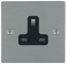 Hamilton Sheer Satin Stainless 1 Gang 13A Unswitched Socket with Black Plastic Inserts and Black Surrounds
