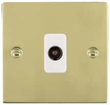 Hamilton Sheer Polished Brass 1 Gang Isolated TV 1 In/1 Out Socket with White Inserts