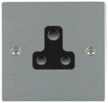 Hamilton Sheer Satin Stainless 1 Gang 5A Unswitched Socket with Black Plastic Inserts and Black Surrounds
