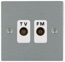 Hamilton Sheer Satin Stainless Isolated TV/FM Diplexer 1 In/2 Out with White Inserts