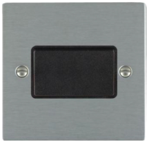 Hamilton Sheer Satin Stainless 1 Gang 10A Triple Pole Rocker Switch with Black Inserts + Black Surround