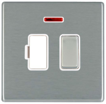Hamilton Hartland CFX Satin Stainless 1 Gang 13A Double Pole Fused Spur + Neon with Satin Stainless Inserts + White Surround