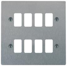 Hamilton Sheer Satin Stainless 8 Gang Aperture Grid Fix Plate