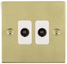 Hamilton Sheer Polished Brass 2 Gang Non Isolated TV 2 In/2 Out Socket with White Inserts