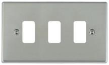 Hamilton Hartland Bright Stainless 3 Gang Aperture Grid Fix Plate