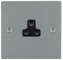 Hamilton Sheer Satin Stainless 1 Gang 2A Unswitched Socket with Black Plastic Inserts and Black Surrounds