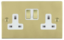 Hamilton Sheer Polished Brass 2 Gang 13A Double Pole Switched Socket with Polished Brass Inserts + White Surround