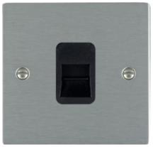 Hamilton Sheer Satin Stainless 1 Gang Telephone Master Socket with Black Plastic Inserts