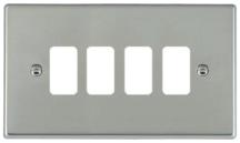 Hamilton Hartland Bright Stainless 4 Gang Aperture Grid Fix Plate