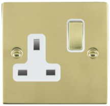 Hamilton Sheer Polished Brass 1 Gang 13A Double Pole Switched Socket with Polished Brass Inserts + White Surround