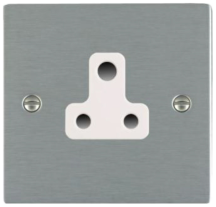 Hamilton Sheer Satin Stainless 1 Gang 5A Unswitched Socket with White Plastic Inserts + White Surround