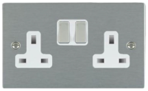 Hamilton Sheer Satin Stainless 2 Gang 13A Double Pole Switched Socket with Satin Stainless Inserts + White Surround