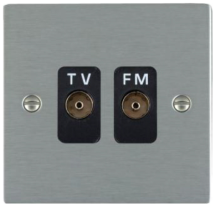 Hamilton Sheer Satin Stainless Isolated TV/FM Diplexer 1 In/2 Out with Black Inserts