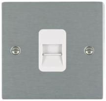 Hamilton Sheer Satin Stainless 1 Gang Telephone Master Socket with White Plastic Inserts