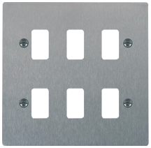 Hamilton Sheer Satin Stainless 6 Gang Aperture Grid Fix Plate