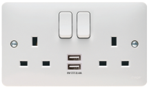 Hager WMSS82USB USB Switched Socket Double Pole 2 x 13A