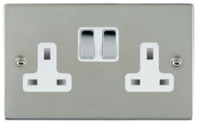 Hamilton Sheer Bright Stainless 2G 13A Double Pole Switched Socket with Bright Chrome Inserts + White Surround