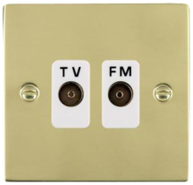 Hamilton Sheer Polished Brass Isolated TV/FM Diplexer 1 In/2 Out with White Inserts