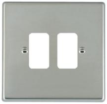Hamilton Hartland Bright Stainless 2 Gang Aperture Grid Fix Plate
