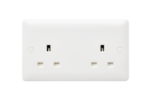 MK Base MB781WHI 13A 2 Gang Socket Unswitched