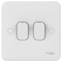 Schneider GGBL1022 Plate Switch 2 Gang 2 Way 10AX
