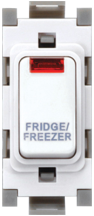 Deta Gridswitch White 1 Way 1 Module Double Pole Grid Switch With Neon Marked Fridge Freezer 20A