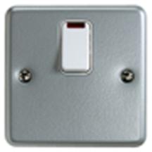 MK Metalclad K5242ALM DP Switch c/w Neon & Flex Outlet 20A
