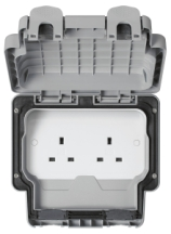 MK Masterseal K56481GRY 2 Gang Unswitched Socket IP56 13A In Grey